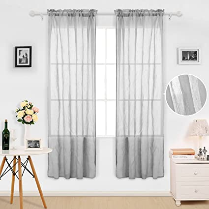 Amazon Deconovo Solid Voile Sheer Curtains Rod Pocket Linen Look Curtain Panels For Dining Room 42W X 63L Inch Grey 1 Pair Home Kitchen