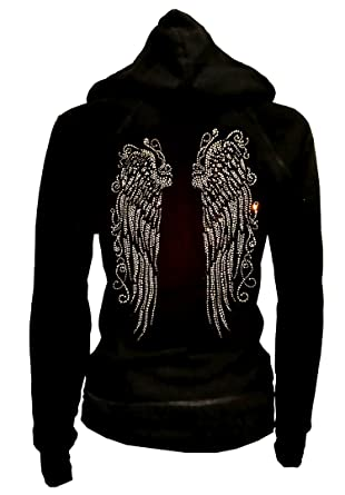 89c5df86fa07c LADY Plus Size Bling Bling Angel Wings Zip up Hoodie Sweater Rhinestones  (Small)