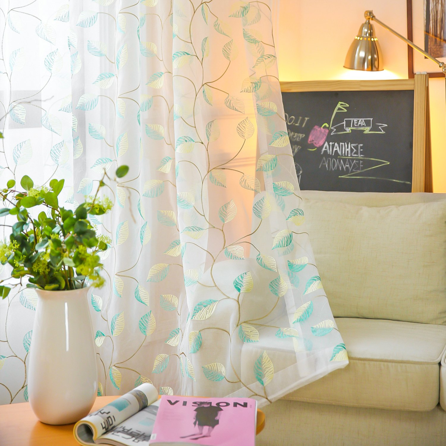 VOGOL Sheer Curtains Embroidered Cyan Leaves Design White Rod Pocket Window Drapes/Panels for Living Room, 42 x 63,Two Panels