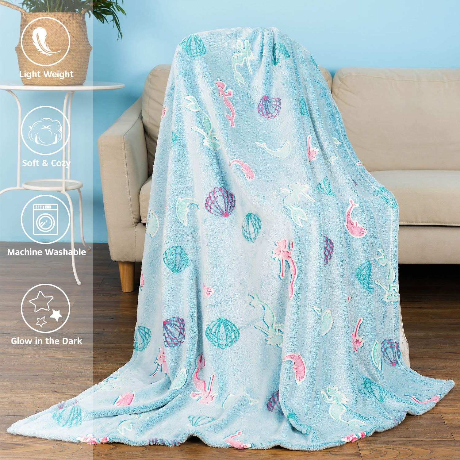 MAXYOYO Mermaid Throw Blanket Glow in Dark Soft Glowing Fluffy Blankets All Seasons Fleece Blankets and Throws Mermaid Personalized Gift for Girls 50 x 60 Inches