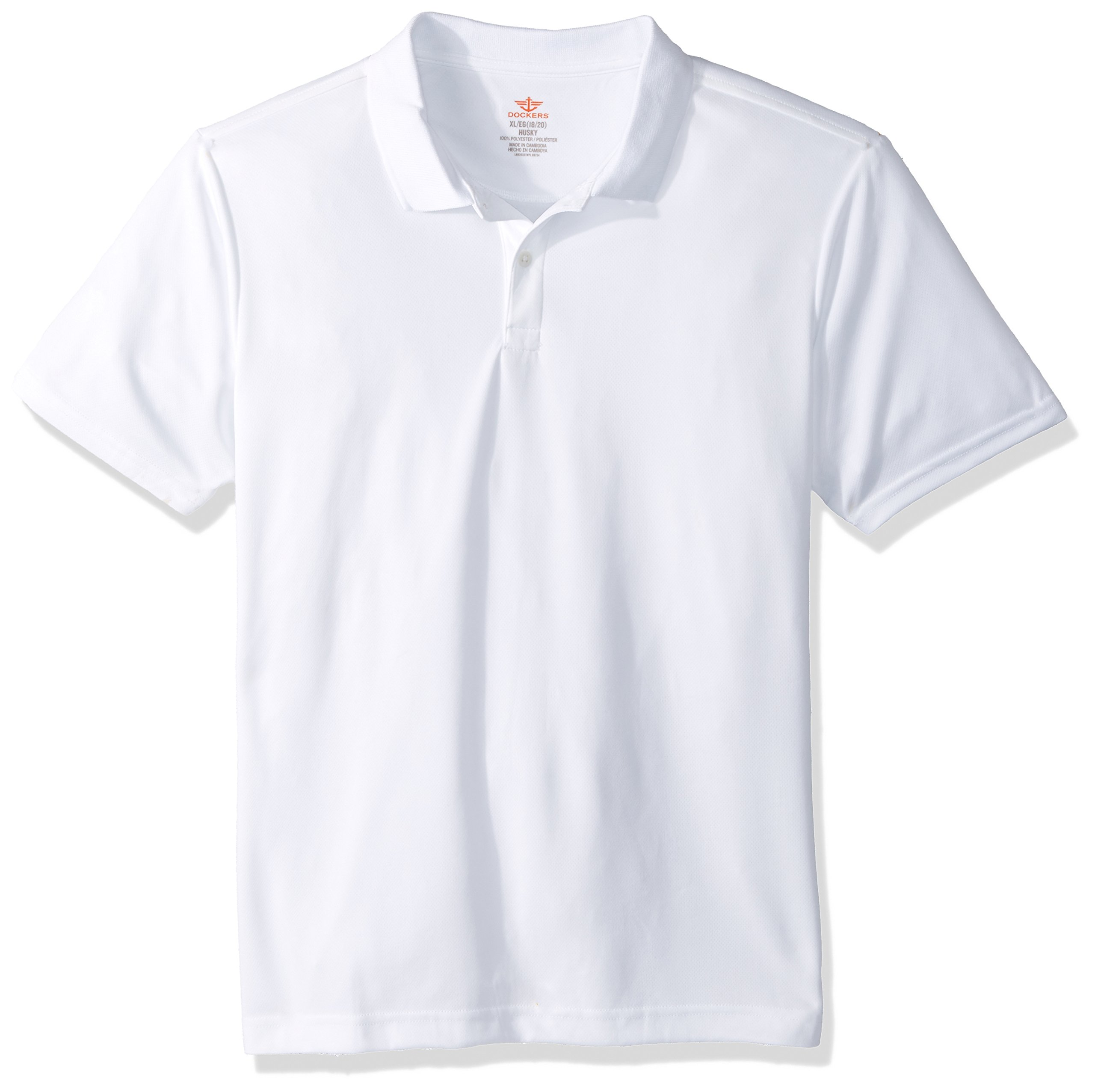 Dockers Big Boys' Uniform Short Sleeve Performance Polo, White, Medium/10/12