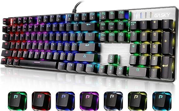 Gasky Teclado Mecánico RGB para Juegos de Color de Iris, con Blue Switch, con Multiples Funciones, 7 Modelos de Iluminación, Diseño para los ...