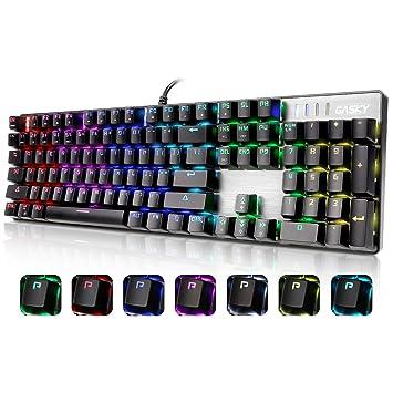GASKY Teclado Mecánico RGB para Juegos de Color de Iris, con Blue Switch, con