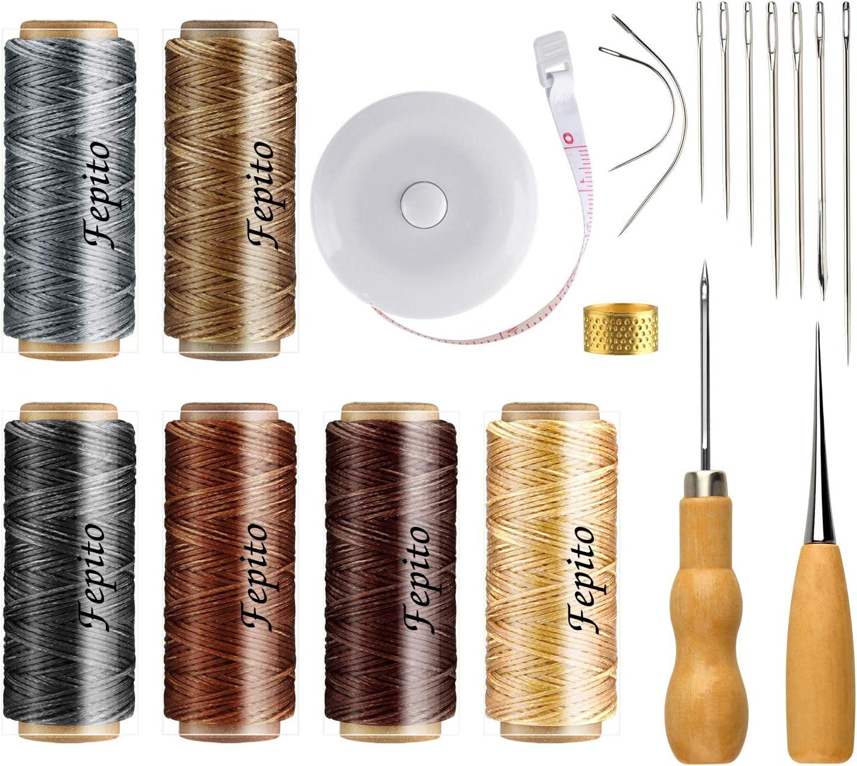 FEPITO 19 piezas de hilo encerado de cuero 198 yardas 6 colores Cordón encerado de costura de cuero con cuero Kit de herramientas artesanales para tapicería de cuero DIY Costura artesanal