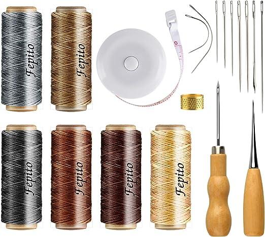 FEPITO 19 piezas de hilo encerado de cuero 198 yardas 6 colores Cordón encerado de costura de cuero con cuero Kit de herramientas artesanales para tapicería de cuero ...