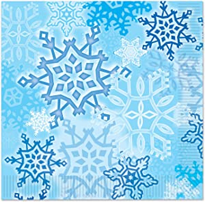 Beistle Snowflake Luncheon Napkins, Blue/White, 16 Count
