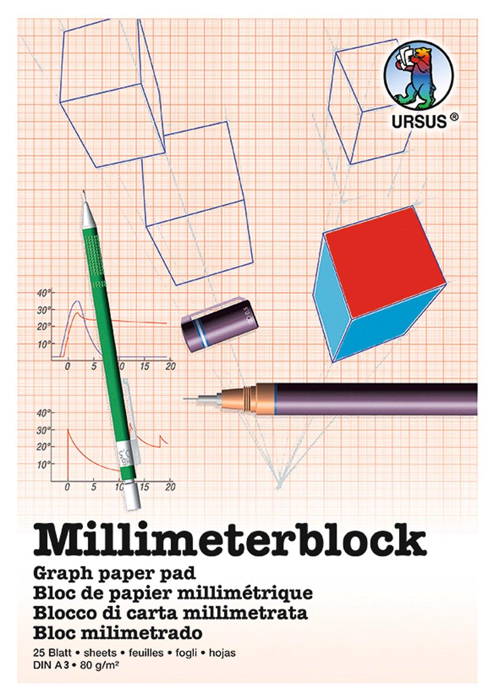 URSUS 7054600–Millimeter Block A4, 80G/MQ, 25fogli