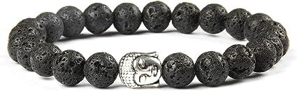 Pulsera de Perlas de Buda Hecha de Piedras Naturales Reales y Perlas Nobles del Budismo, Pulsera de Chakra para Damas y Caballeros, Pulsera de Yoga
