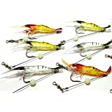 RAH Soft Lures Shrimp Bait Set With Luminous / Fluorescent Effect Body And Bead. Attached Leader & Hook. 6, 9 & 12 Multi-Packs Available! - Freshwater / Saltwater Trout Redfish Snook Soft Shrimp Lure