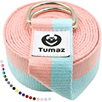 Tumaz Yoga Strap / Yoga Belt, Home Workout, Daily Stretching with Extra Safe Adjustable D-Ring Buckle, Durable and Comfy…