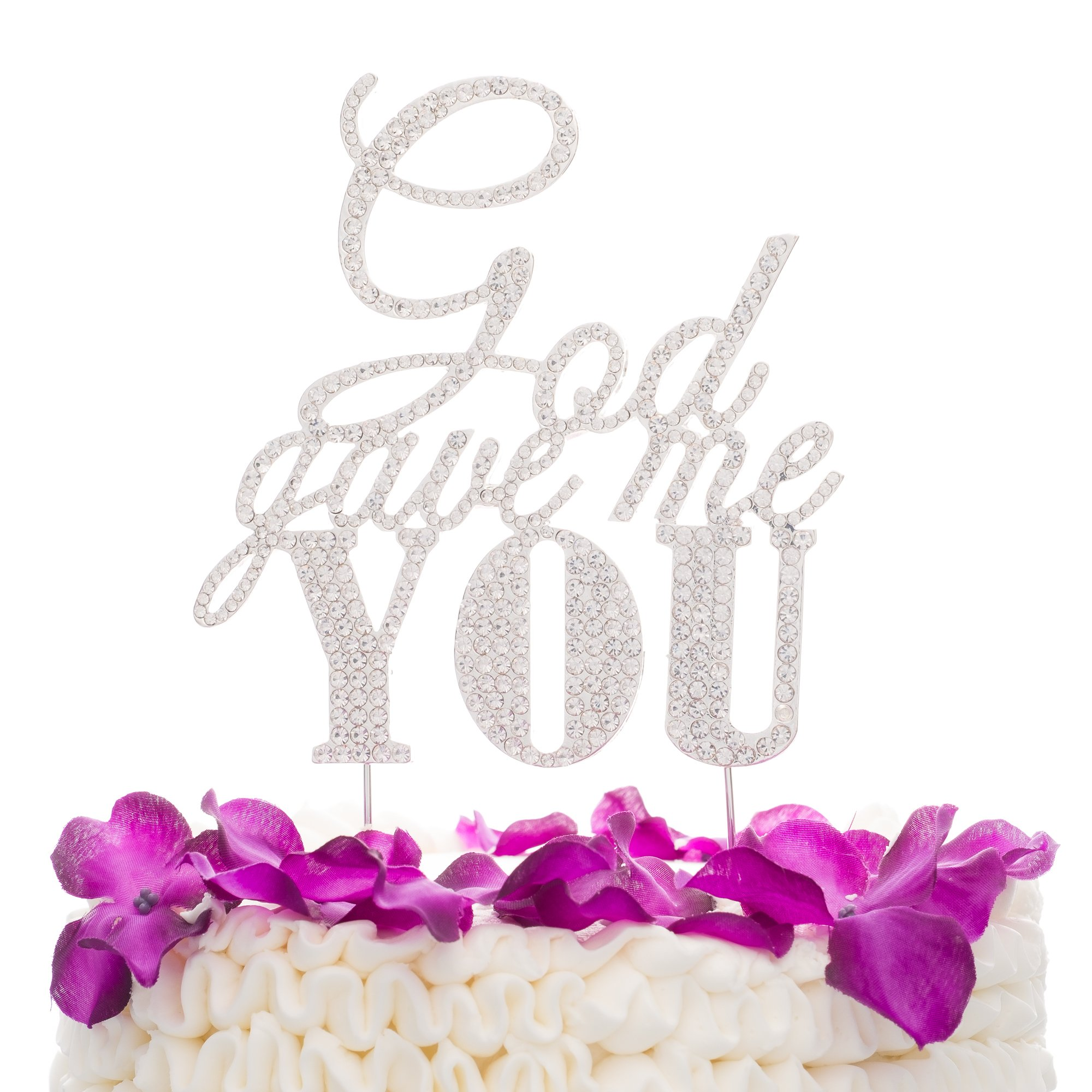 Ella Celebration God Gave Me You Wedding Cake Topper, Silver Religious Christian Party Decoration