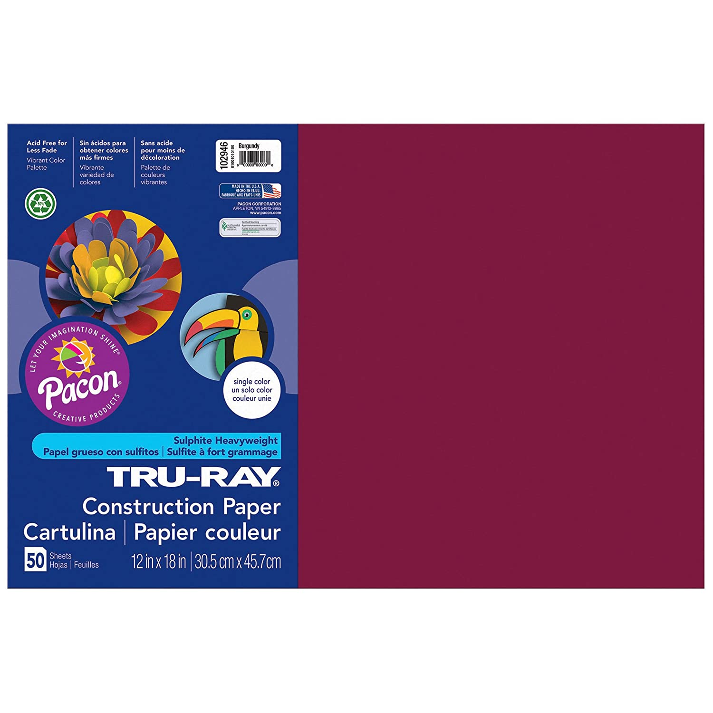 50 Sheets Per Pack Burgundy 3 Packs Pacon Tru-Ray Construction Paper 12 x 18