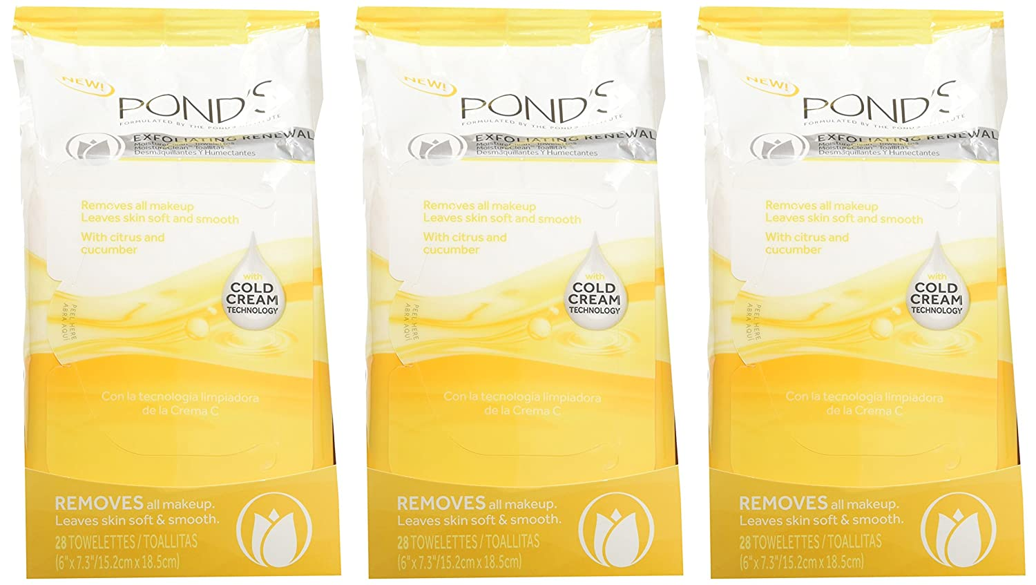 Amazon.com: Ponds Towelettes Exfoliating Renewal 28 Count (3 Pack): Beauty