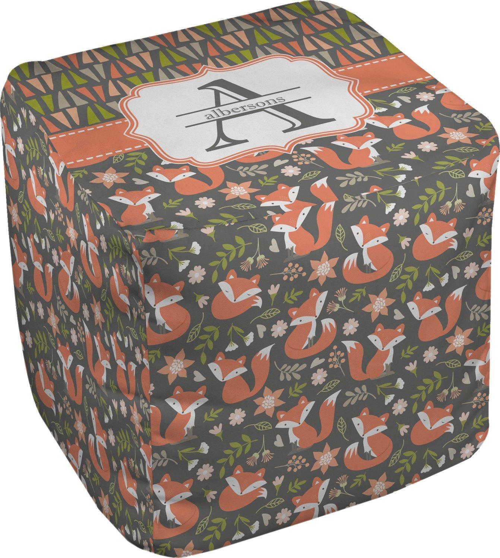 RNK Shops Fox Trail Floral Cube Pouf Ottoman - 13'' (Personalized)