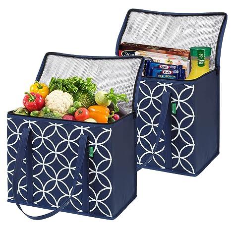 Nevera Portátil Grande para Comestibles (2 Unid, Azul). Bolsas de Compras Plegables Aislantes, de Calidad Superior con Asas Largas y Solapa con ...