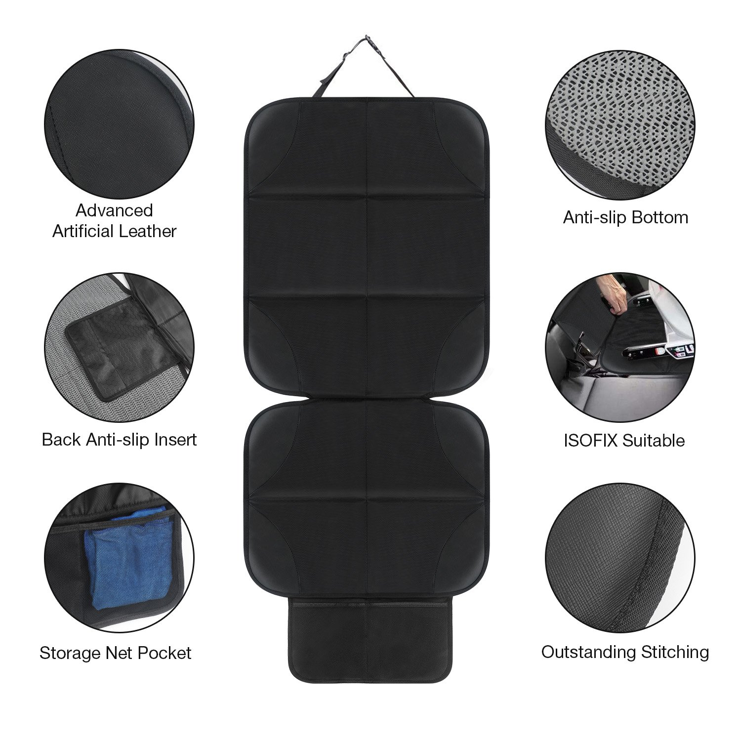 AOAFUN 1 Set Car Seat Protector&Kick Mat Auto Seat Back Protector,Extra Large Storage Pocket,Prevents Dirt and Damage-Allows Easy Access to Baby Items! (Black) by AOAFUN (Image #3)