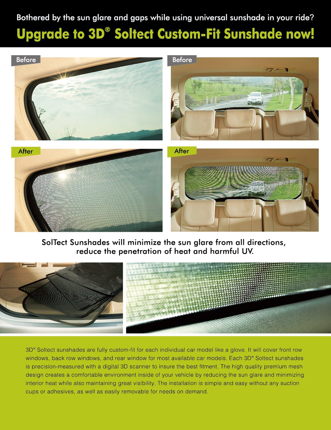 3D MAXpider S1VV0150 3D Soltect Complete Set Custom Fit Sun Shades for Select Volvo XC60 Models by 3D MAXpider (Image #3)