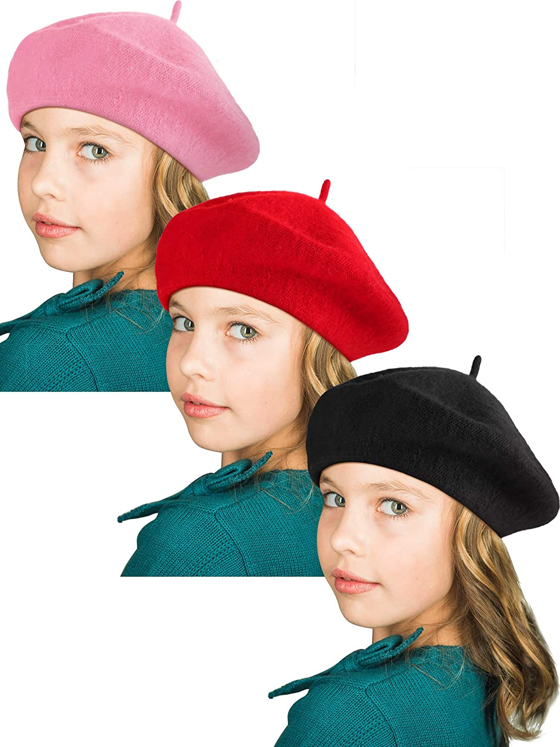 SATINIOR 3 Pieces Kids Winter Pom Hat Toddler Knitted Hat Warm Stretchy Cap for Boys Girls
