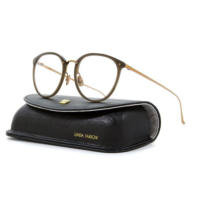 82c606bcaf8 Linda Farrow Luxe 251 Round Eyeglasses C6 Mocha Brown   Gold   RX Clear Lens   Linda Farrow  Amazon.ca  Clothing   Accessories