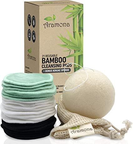 8-cm Bamboo Face Wipes 21-Pack Bamboo Makeup Removing Rounds Washable Cleansing Pads with Pocket Reusable Cotton Pads Planet-Friendly and Zero-Waste Face Cloths with Bamboo Box and Washing Bag