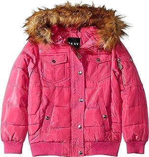 04ba460e2 Amazon.com: DKNY Girls' Bubble Jacket with Faux Fur: Clothing