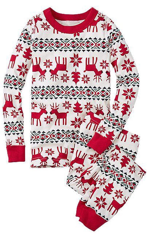 ECOWISH Weihnachten Schlafanzug Familien Outfit Mutter Vater Kind Baby Pajama Langarm Nachtwäsche Print Sleepwear Top Hose Set EH850