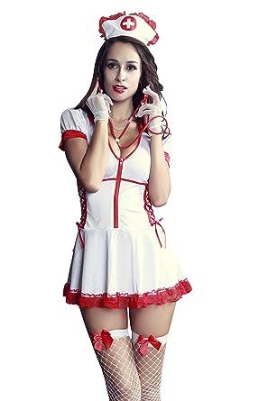 83d043ce1a6 REINDEAR 8 PCs Women Sexy Nurse Uniform Complete Set Nightie Racy Lingerie  US Seller