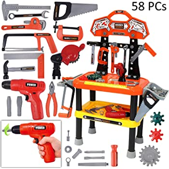 58 Pieces Kids Workbench with Realistic Tools and Electric Drill for Construction Workshop Tool Bench, STEM Educational Play, Pretend Play, Birthday Gifts ...