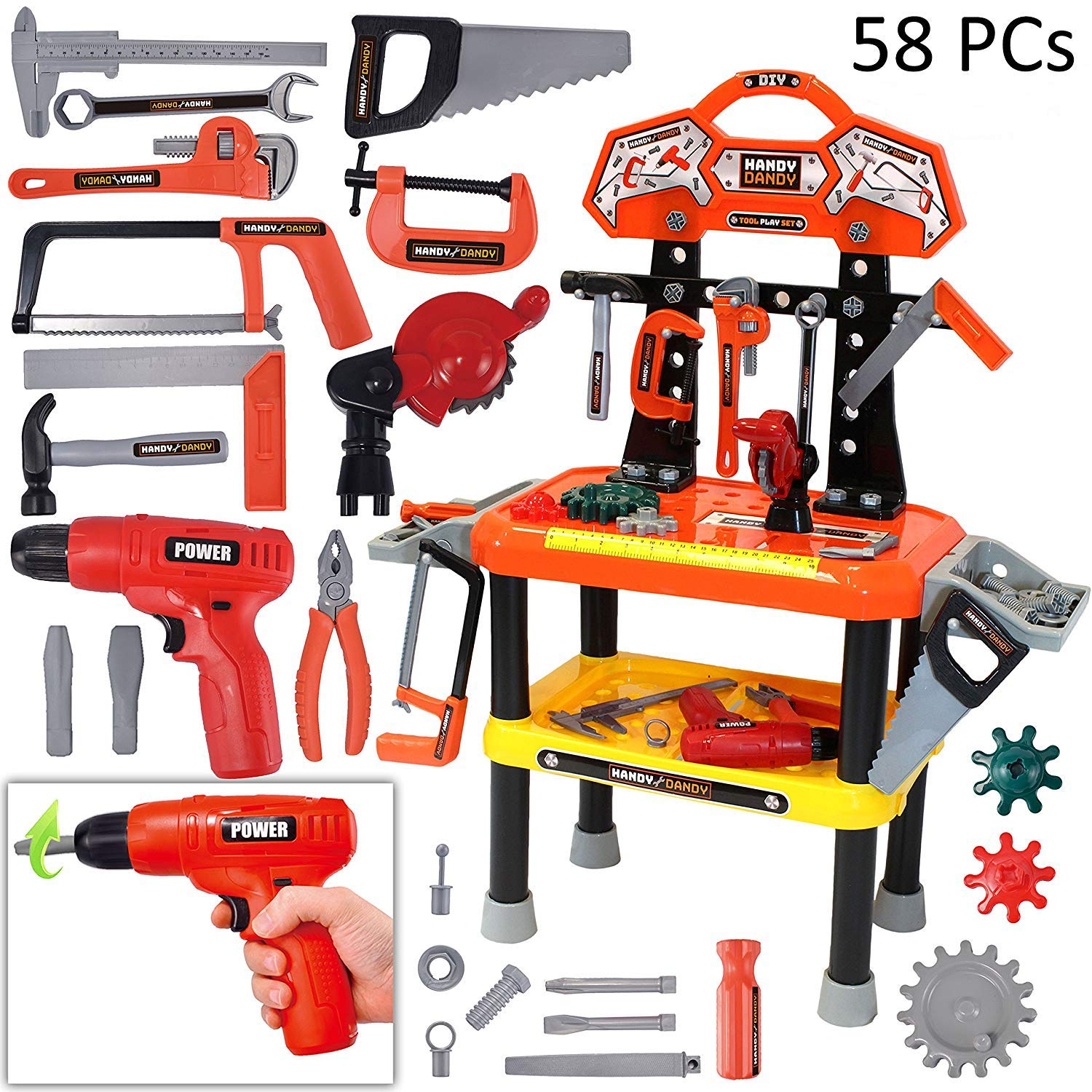 58 Pieces Kids Workbench with Realistic Tools and Electric Drill for Construction Workshop Tool Bench, STEM Educational Play, Pretend Play, Birthday Gifts and Tool Bench Building Set by Joyin Toy