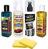 MAX Supreme Car Care Kit (Liquid Wax Polish, Dashboard/Tyre Shiner, Windshield Washer, Car Shampoo - 200 ML Each and Foam 2 Pieces)