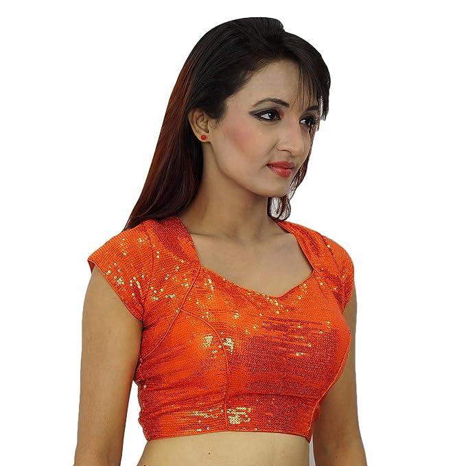 Ropa de la boda india de las lentejuelas Sari Choli Mujeres Ready-Made blusa de cultivo-Top: Amazon.es: Ropa y accesorios