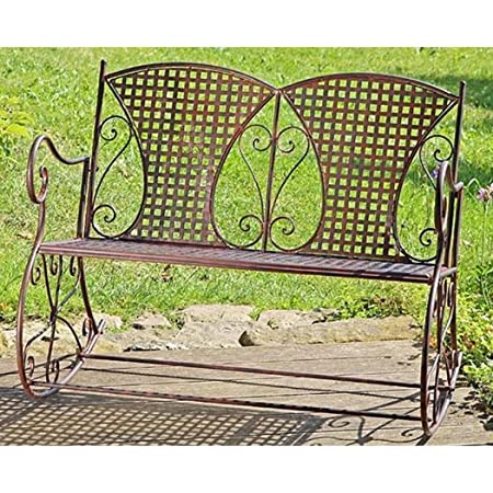 Metal swinging garden bench