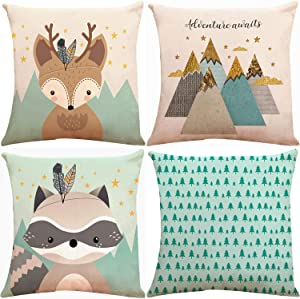 ZUEXT Forest Animal Fox Throw Pillow Covers 18x18 Inch, Set of 4 Cotton Linen Teal Square Decorative Cushion Pillowcases for Car Sofa Couch Woodland Girls Nursery Room Decor