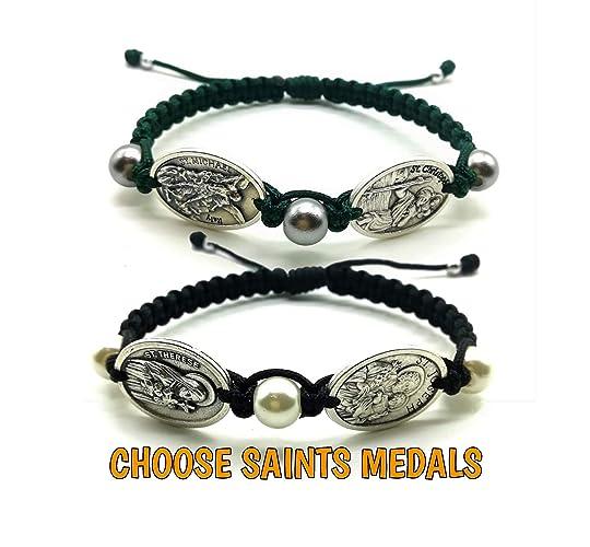 Amazon com: Catholic Saints Medals Bracelet Adjustable Cord Mens
