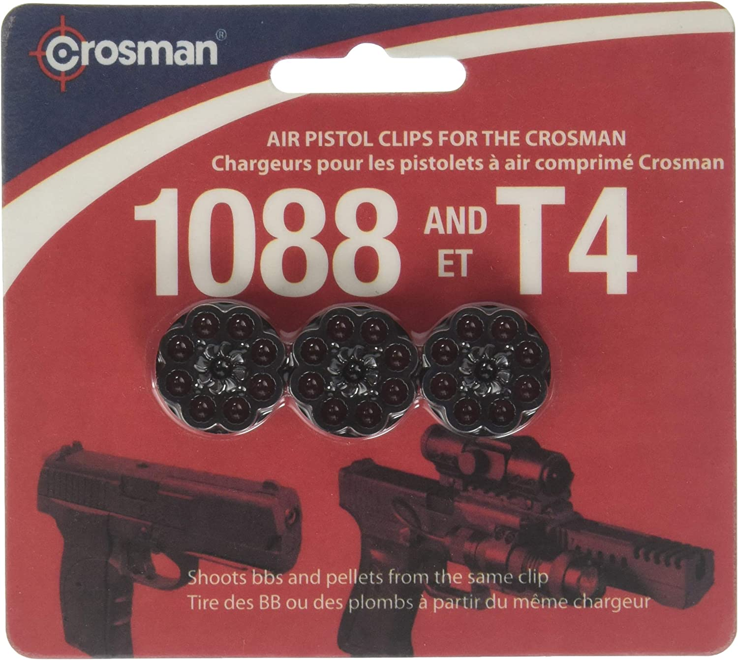 Crosman 8-Shot Rotary Clips, Fits T4 & 1088 Pistols, 3/Pack : Airsoft Magazines : Sports & Outdoors