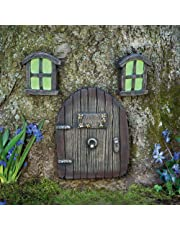 Bits and Pieces - Miniature Fairy Garden Glow in The Dark Fairies Sleeping Door and Windows Tree Statues - Tree Hugger Yard and Garden Sculptures Fairy Garden Mystical Gnome Home