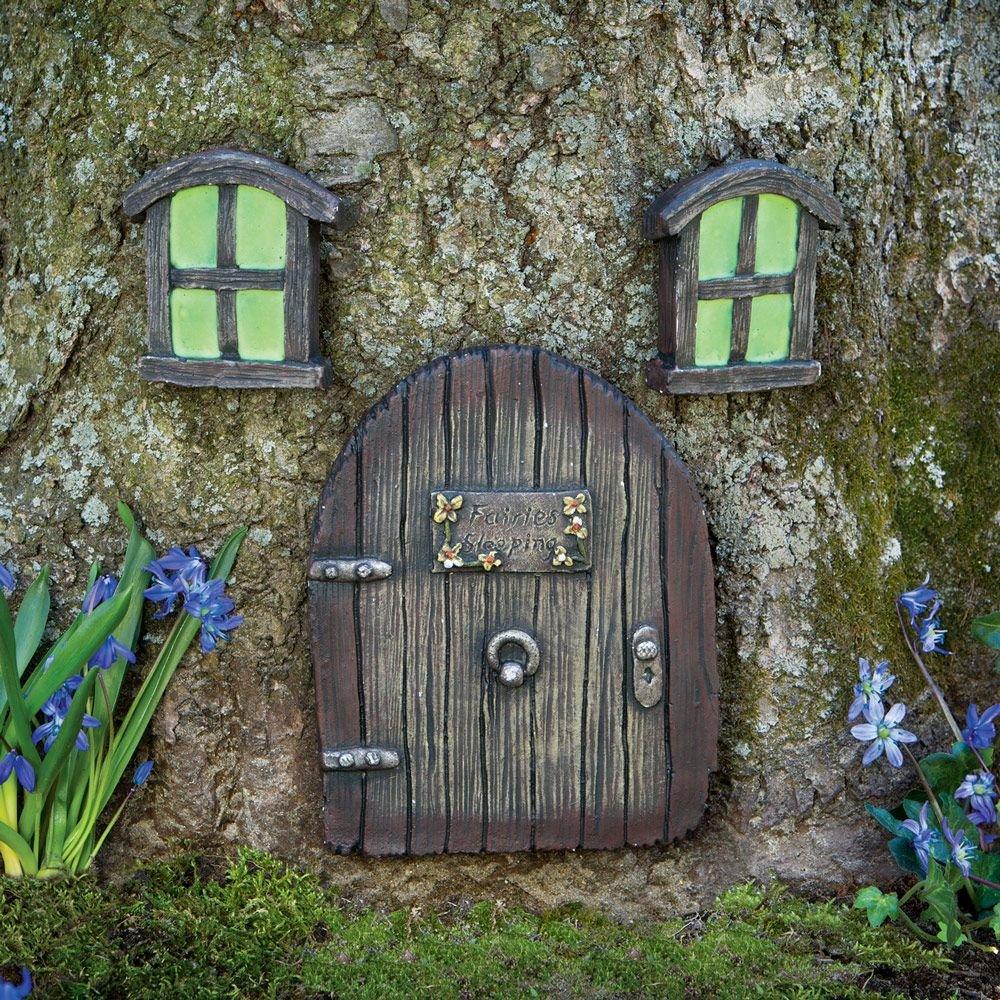 Bits and Pieces - Miniature Fairy Garden Glow in The Dark Fairies Sleeping Door and Windows Tree Statues - Tree Hugger Yard and Garden Sculptures Fairy Garden Mystical Gnome Home