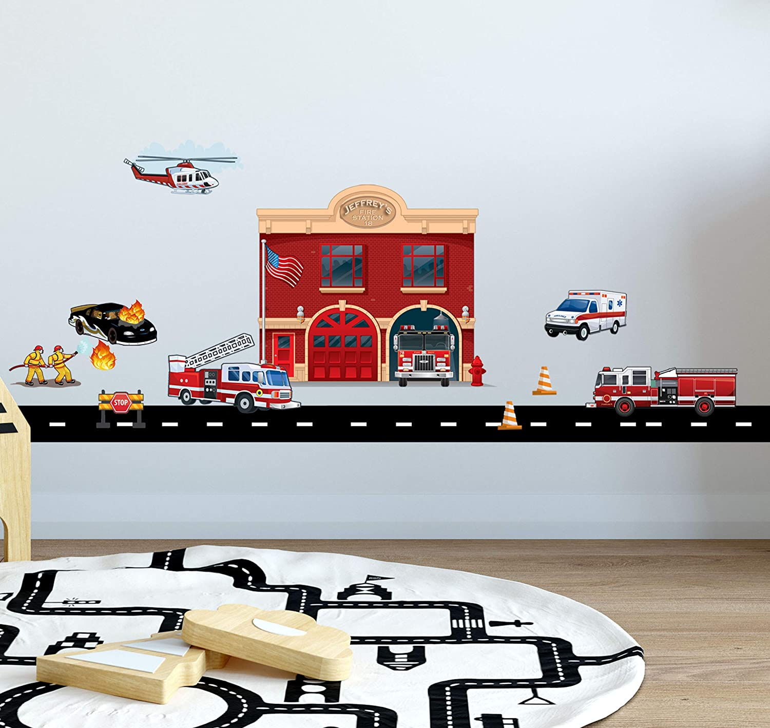 Fire Station Department Mural Fire Truck Wall Decals Stickers, Firefighters & Vehicles Theme Boys Bedroom Wall Decor DIY Toddler Vinyl Decoration Playroom Birthday Gift Idea