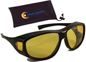 5b9a1ca9b9 Ideal Eyewear Night Driving Fit Over Glasses Wear Over Prescription Glasses  - Yellow Lens for Better