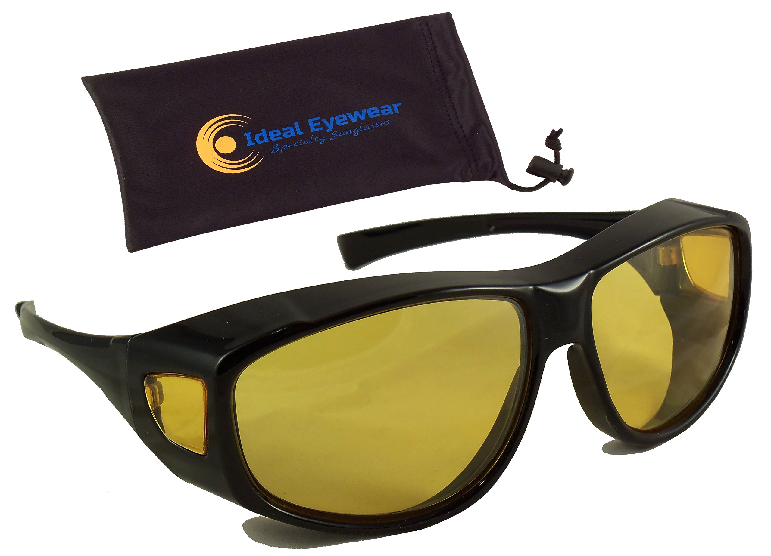 Night Driving Fit Over Glasses by Ideal Eyewear - Wear Over Prescription Glasses - Yellow Lens for Better Night Vision (Black Frame with case, Large)