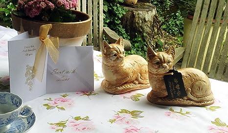 Piedra par de gatos/gatitos de adorno Estatua/Escultura hogar o jardín gato presente