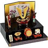 五月人形 陶器 錦彩段飾り出世兜 ポストカード特典付オリジナル五月人形 ミニ 兜 兜飾り 幅18cm