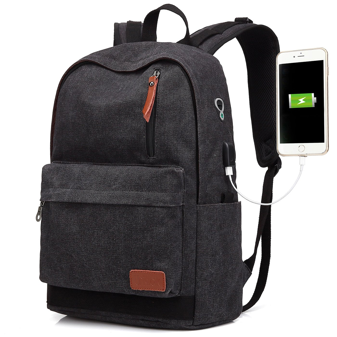 Canvas Laptop Backpack, Waterproof School Backpack With USB Charging Port For Men Women, Lightweight Anti-theft Travel Daypack College Student Rucksack Fits up to 15.6 inch Computer (Black)
