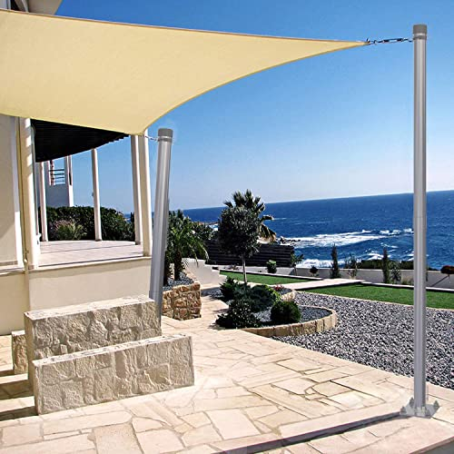 Patio Outdoor Sun Shade Sail Canopy Steel Stand Pole Kit 10' Feet Tall 120″ 3'' Diameter Awning Canvas Tarp Support Poles Deck Powder Coated Steel