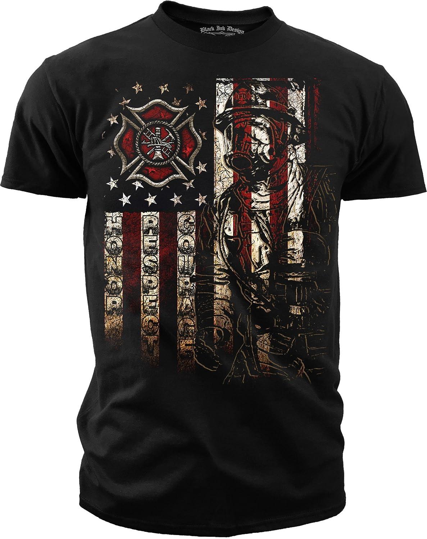 Amazon.com: Black Ink Men's Firefighter - American Flag T-shirt ...