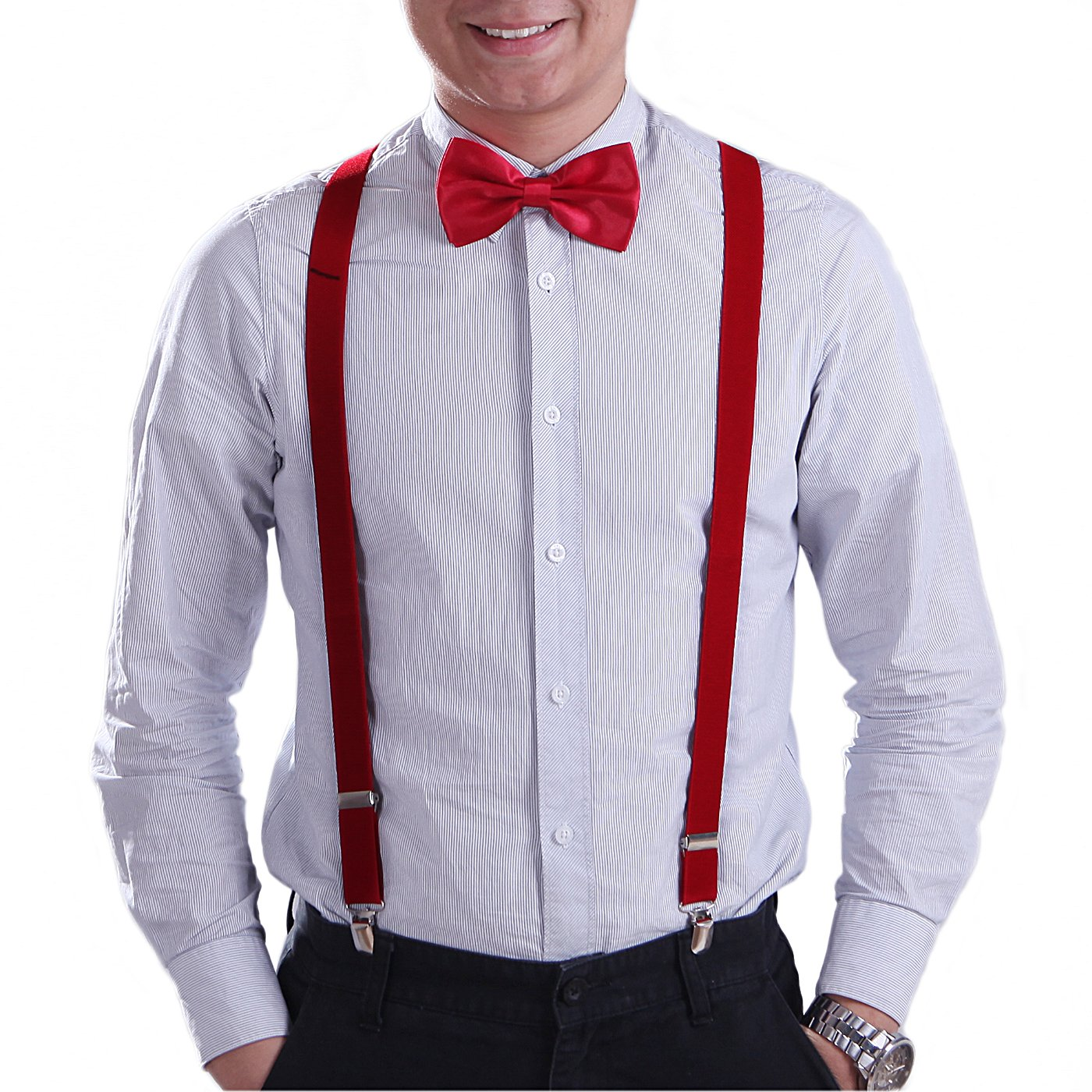 HDE Mens Pre-Tied Adjustable Bowtie Y-Back Clip Suspenders for Wedding Prom Tux Black