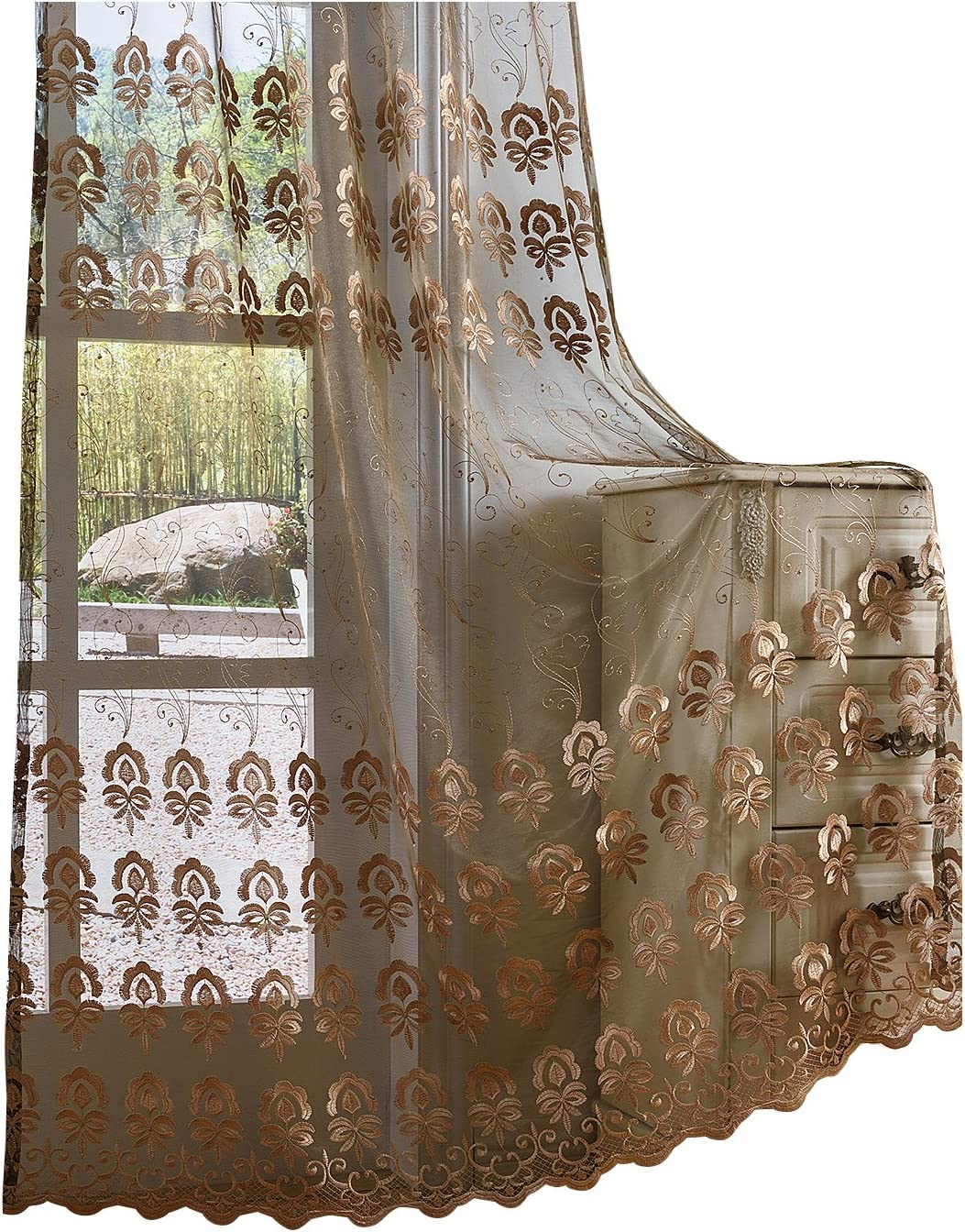 Reviewed: BW0057 Classic Europern Style Flower Embroidered Sheer Curtains Window Treatment Home Decoration Voile Panel