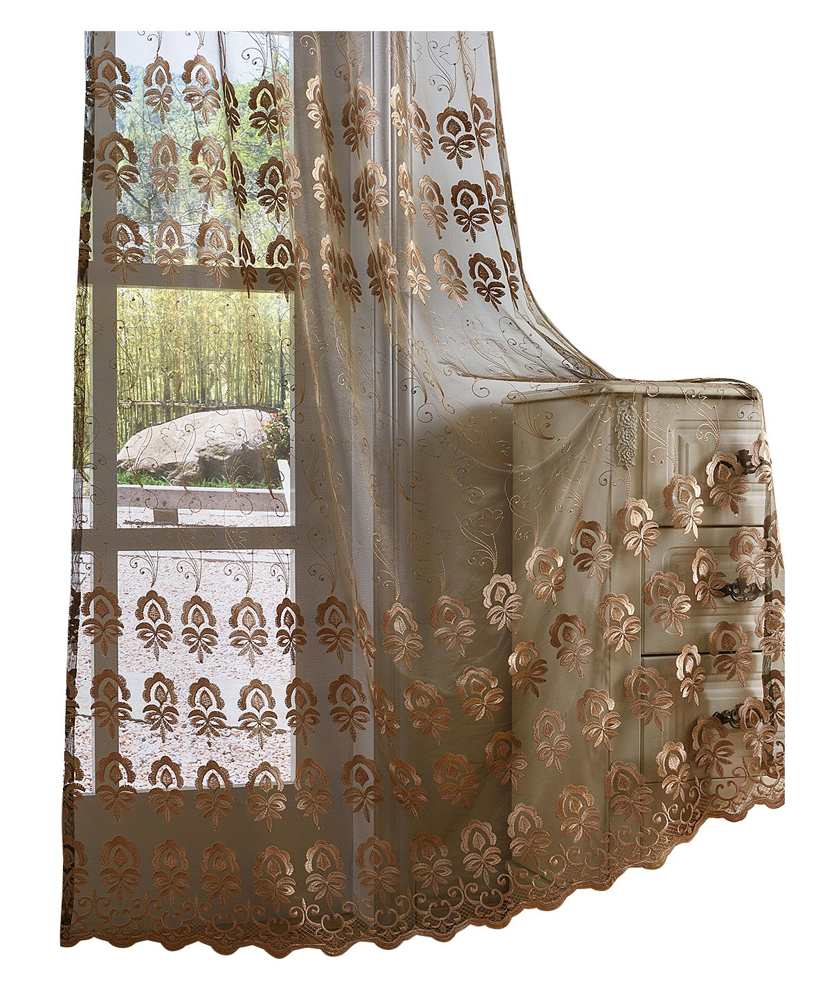 Aside Bside Floral Embroidered Sheer Curtains Vintage Elegance Embroidery Voile Curtain Rod Pocket Window Panels for Living Room & Bedroom(1 Panel, W 50 x L 90 inch, Brown) -X0401C1FFFBNX25090-8512