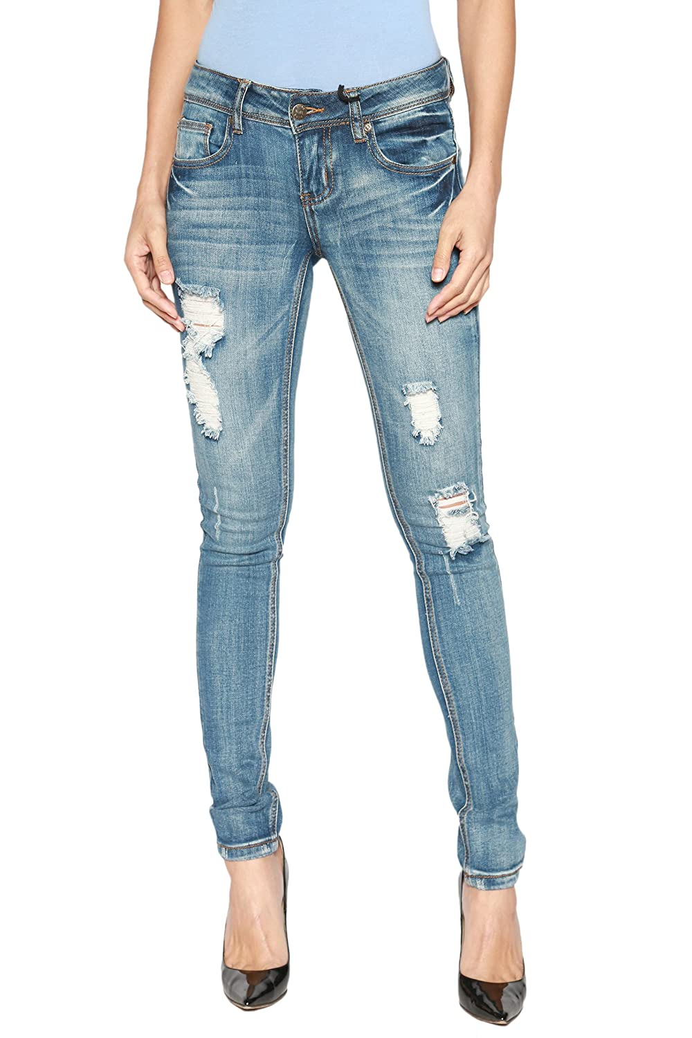 70eb932b47b41 Dark Blue Distressed jeans pants are comfortable and amazingly versatile.  Cotton-rich