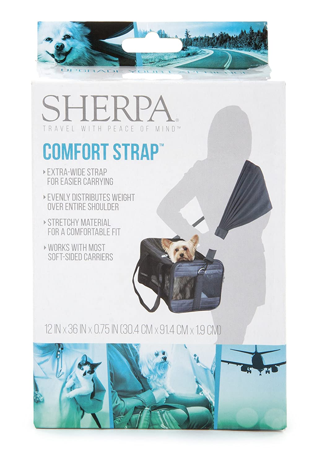 Sherpa 56014 Travel Pet Carrier Accessory Comfort Strap One Size Black